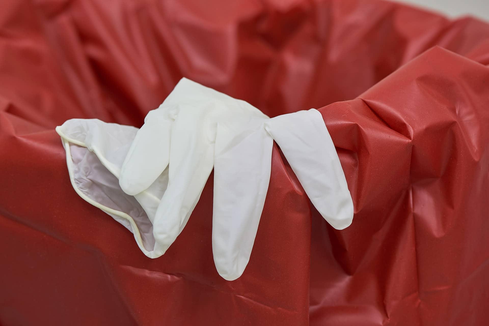 Used latex gloves