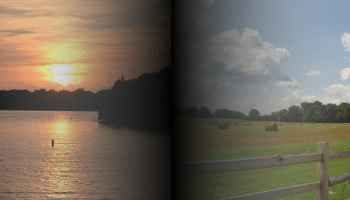 Combined images of Old Hickory Lake in Mt. Juliet, TN and the grounds of The Hermitage on the highway from East Nashville to Lebanon, TN